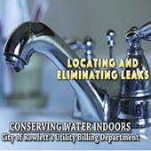 sink faucet, text: locating and eliminating leaks